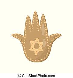Jewish sacred amulet and religious symbol, palm of David...