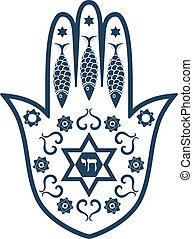 Jewish sacred amulet - hamsa or Miriam hand, vector ...