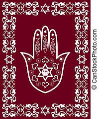 Jewish sacred amulet - hamsa, vector - Jewish sacred amulet...