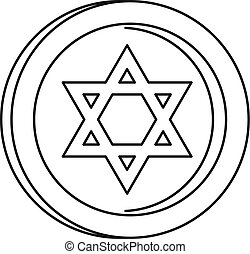 Jewish star coin icon, outline style - Jewish star coin...