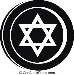 Jewish star coin icon, simple style - Jewish star coin icon....