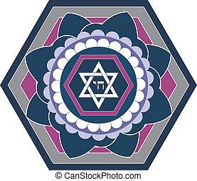 Jewish star design - vector