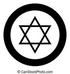 Jewish star of David icon black color in circle