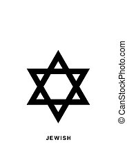 Jewish Star of David icon in flat isolated on white.