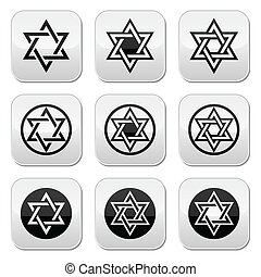 Jewish, Star of David icons set iso