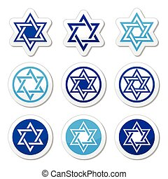 Jewish, Star of David icons set