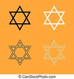 Jewish star of David set black and white icon .