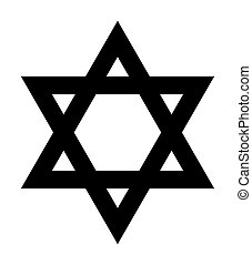 Star of David sign - Jewish Star of David sign in silhouette...