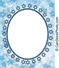 Jewish star photo frame border with snowflake background for...