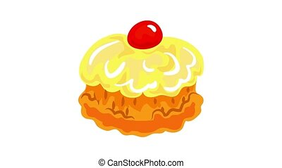 Jewish sweer cake icon animation best object on white background