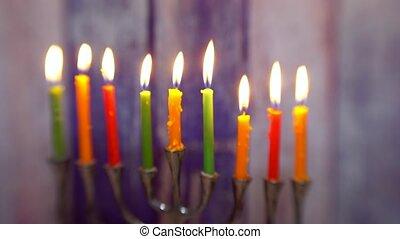 jewish symbol jewish holiday Hanukkah with menorah...