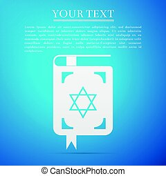 Jewish torah book flat icon on blue background. Vector...