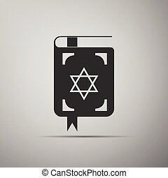 Jewish torah book icon on grey background.