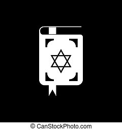 Jewish torah book icon with long shadow.