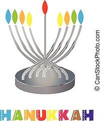 Jewish traditional holiday Hannukah icon design illustration