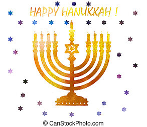 Jewish traditional holiday Hannukah.Watercolor Greeting card...