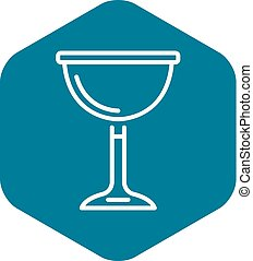 Jewish wine cup icon, outline style - Jewish wine cup icon....