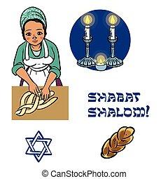 jewish woman - cute jewish religion woman with hala, candles...