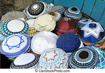 Jewish Yarmulkes for sale in shops in the Jerusalem Old City...