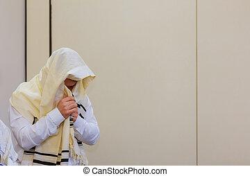 Jews in prayer at the Jewish holiday of Sukkot Orthodox hassidic