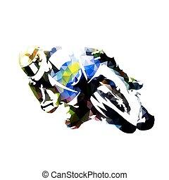 jezdec, abstraktní, silueta, polygonal, vektor, motocykl, nárys