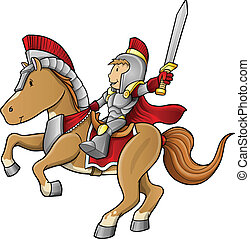 jezdec, válečník, dále, kůň, vektor