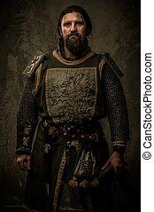 jezdec, zbraň, venku, středověký