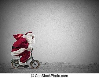 jezdit na kole, claus, santa, pevně