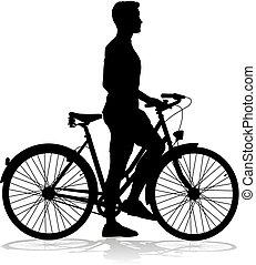 jezdit na kole, cyklista, jezdit jízdní kolo, silueta