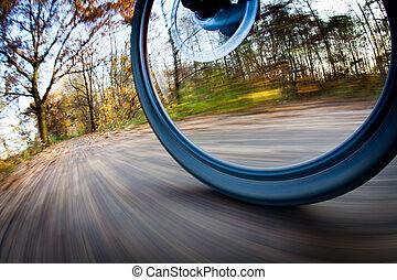 jezdit na kole jezdit, do, jeden, velkoměsto park, dále,...