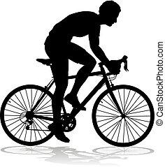 jezdit na kole, jezdit na kole, cyklista, silueta, jízdní