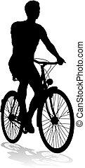 jezdit na kole, jezdit na kole, silueta, jízdní, cyklista