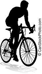 jezdit na kole, silueta, jízdní, cyklista, jezdit na kole