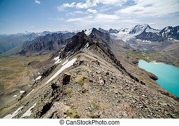 jezioro, ala-kul, kyrgyzstan, farwater