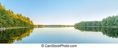 jezioro, panorama, zachód słońca, przed, jesień, właśnie