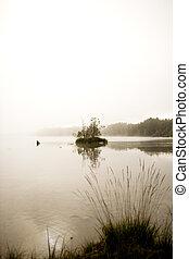 jezioro, spokojny