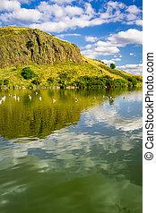 jezioro, w górach, od, szkocja