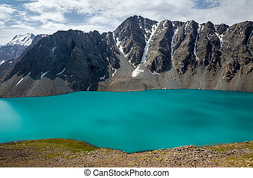 jezioro, zdumiewający, alpejski, ala-kul, kyrgyzstan