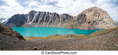 jezioro, zdumiewający, turkus, ala-kul, kyrgyzstan