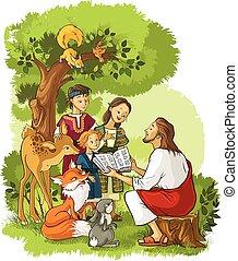 jezus, biblia, zwierzęta, czytanie, dzieci