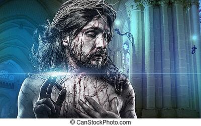 jezus chrystus, kalwaria, człowiek, krwawienie, reprezentacja, od, namiętność, z, korona cierniowa