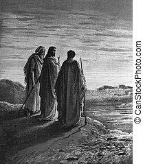 jezus, na drodze, do, emmas