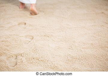 jezus, odejście, ślady, w, piasek