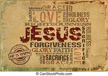 jezus, podniesiony, on