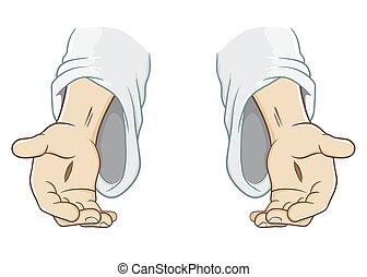 jezus, poza, chrystus, osiąganie, ręka