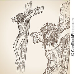 jezus, ręka, zaciągnąć