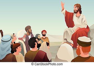 jezus, rozpościerający się, jego, nauczanie, do, ludzie
