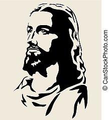 jezus, sylwetka, twarz