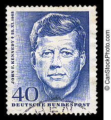 jfk postage stamp - GERMANY - CIRCA 1964. Vintage postage...