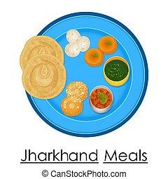 jharkhand, プレート, フルである, 食事, おいしい